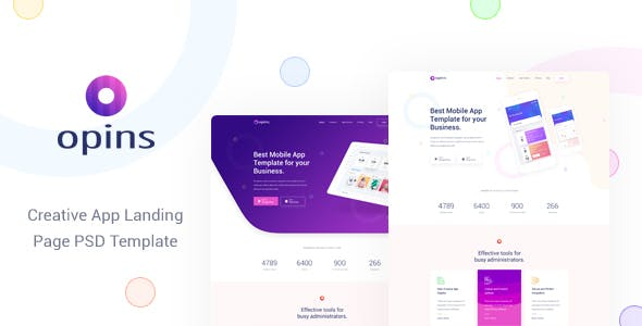 OPINS V1.0 – CREATIVE APP LANDING PAGE PSD TEMPLATE