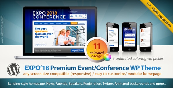 EXPO18 V1.2.4 – RESPONSIVE EVENT CONFERENCE WORDPRESS THEME