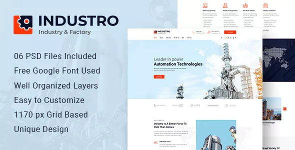 INDUSTRO – INDUSTRIAL PSD TEMPLATE