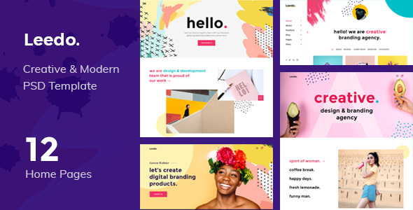 LEEDO – MODERN, COLORFUL & CREATIVE PORTFOLIO PSD TEMPLATE