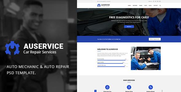 AUSERVICE V1.0 – AUTO MECHANIC & AUTO REPAIR PSD TEMPLATE
