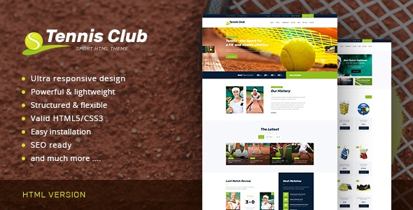 TENNIS CLUB V1.0 – SPORTS & EVENTS SITE TEMPLATE