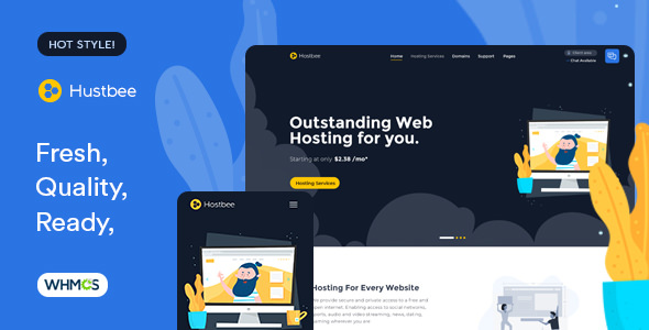 HUSTBEE – HOSTING HTML & WHMCS TEMPLATE – FEB.19 UPDATE