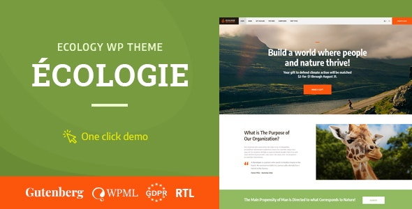 ECOLOGIE V1.0.2 – ENVIRONMENTAL & ECOLOGY WORDPRESS THEME