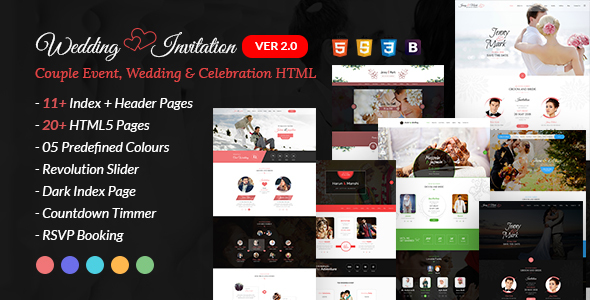 WEDDING INVITATION V2.0 – COUPLE EVENT AND CELEBRATION HTML TEMPLATE