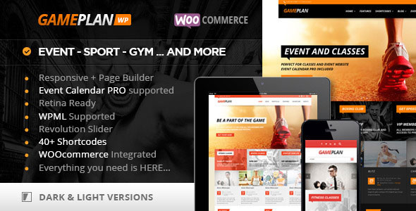 GAMEPLAN V1.6.0 – EVENT AND GYM FITNESS THEME