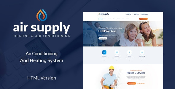 AIRSUPPLY V1.0 – AIR CONDITIONING AND HEATING SERVICES SITE TEMPLATE