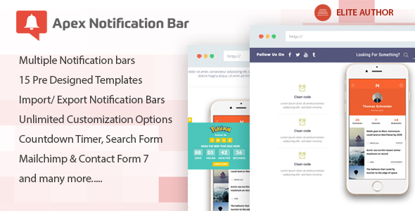 Apex Notification Bar v2.1.0 – Responsive Notification Bar Plugin for WordPress