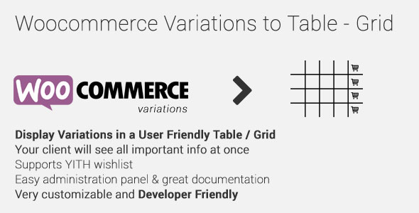Woocommerce Variations to Table – Grid v1.3.10