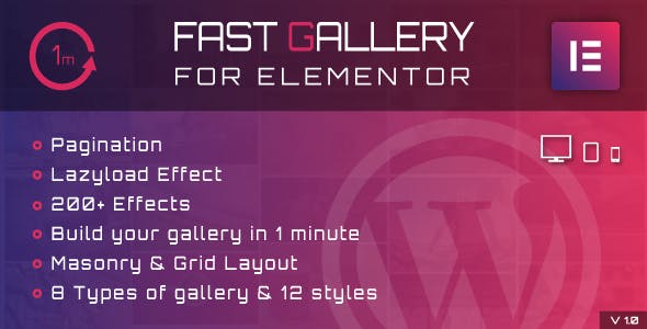 Fast Gallery for Elementor v1.0 – WordPress Plugin