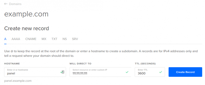 DigitalOcean DNS add A record