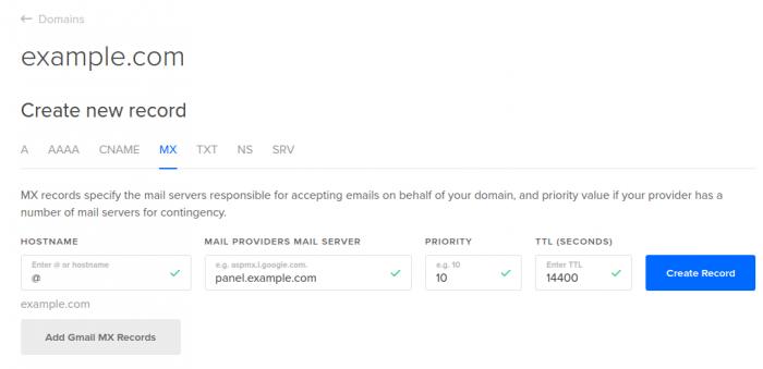 DigitalOcean DNS add MX record