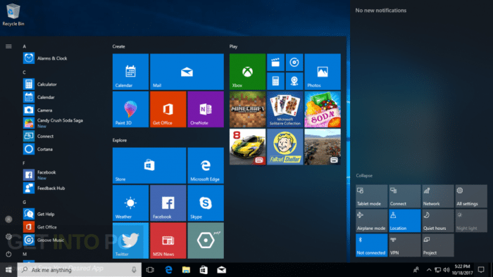 Windows 10 Pro RS3 v1709 64 bit 16299.19 Download