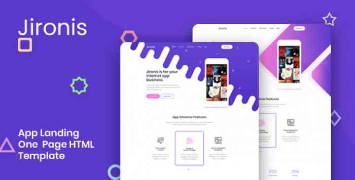 JIRONIS – APP LANDING ONE PAGE HTML TEMPLATE