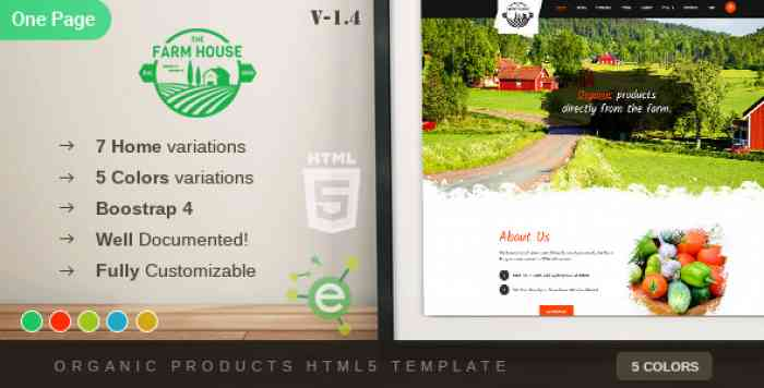 THE FARM HOUSE – ONE PAGE ORGANIC FOOD, FRUIT AND VEGETABLES PRODUCTS HTML5 TEMPLATE