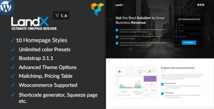 LANDX V1.6.3 – MULTIPURPOSE WORDPRESS LANDING PAGE