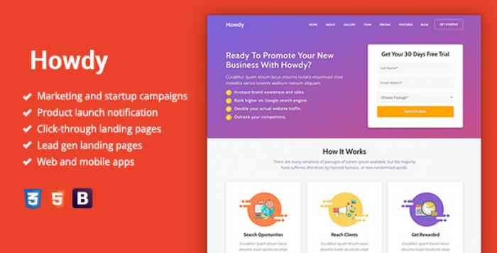 HOWDY – MULTIPURPOSE HIGH-CONVERTING LANDING PAGE TEMPLATE