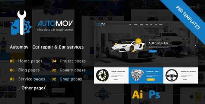 AUTOMOV – CAR REPAIR, AUTO CAR SERVICES PSD TEMPLATE