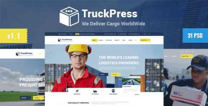 TRUCK PRESS – LOGISTICS & TRANSPORT BUSINESS PSD TEMPLATE