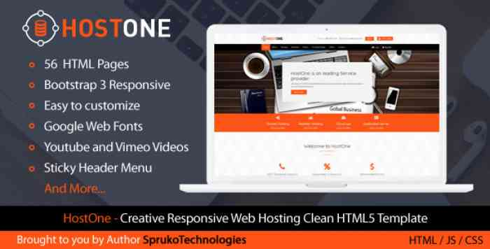 HOSTONE – WEB HOSTING HTML CREATIVE RESPONSIVE CLEAN TEMPLATE