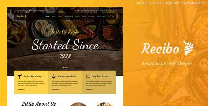 RECIBO V1.2.2 – RESTAURANT / FOOD / COOK WORDPRESS THEME