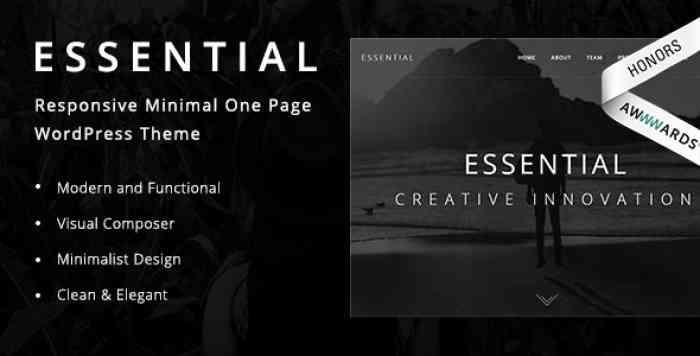 ESSENTIAL V1.9 – RESPONSIVE MINIMAL ONE PAGE WORDPRESS THEME
