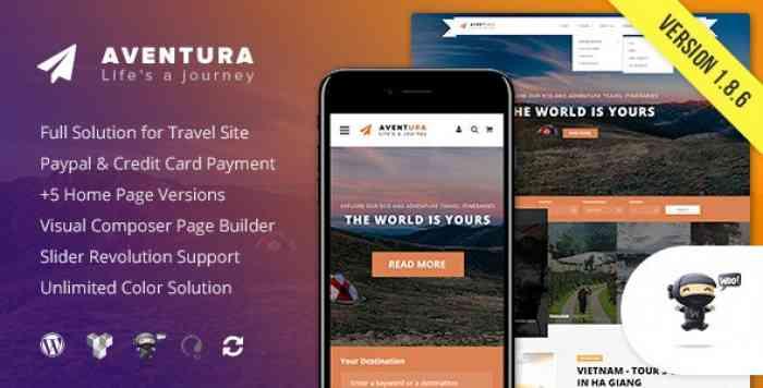 AVENTURA V1.8.6 – TRAVEL & TOUR BOOKING SYSTEM THEME