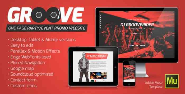 GROOVE V1.1 – ONEPAGE PARTY / EVENT PROMO MUSE TEMPLATE
