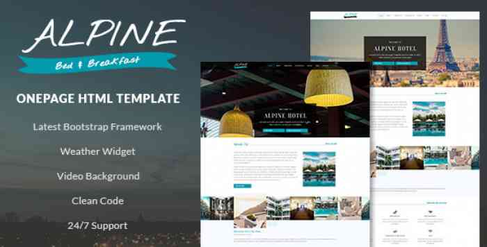 ALPINE V1.0 – BED AND BREAKFAST ONE PAGE TEMPLATE