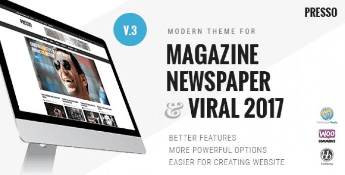 PRESSO V3.3.3 – MODERN MAGAZINE / NEWSPAPER / VIRAL THEME