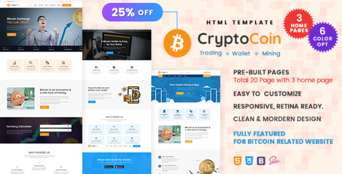 CRYPTOCOIN – BITCOIN CRYPTO CURRENCY WALLET AND MINING TEMPLATE