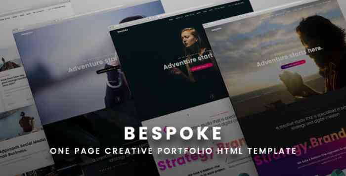 BESPOKE – ONE PAGE CREATIVE HTML TEMPLATE
