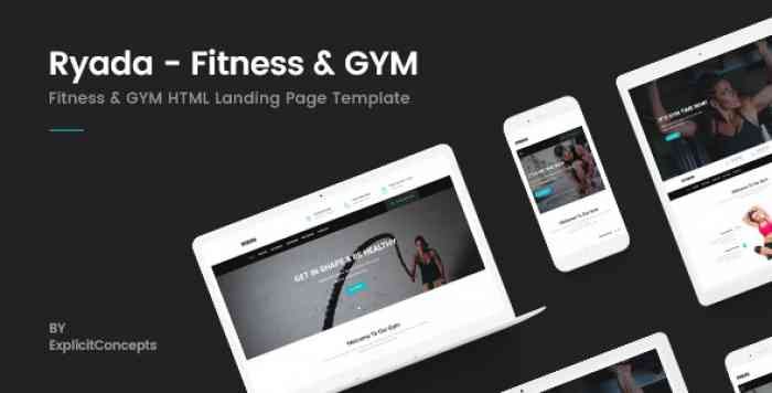 RYADA – FITNESS & GYM HTML LANDING PAGE TEMPLATE