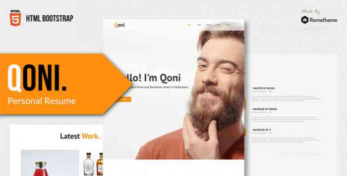 QONI – PERSONAL RESUME HTML TEMPLATE