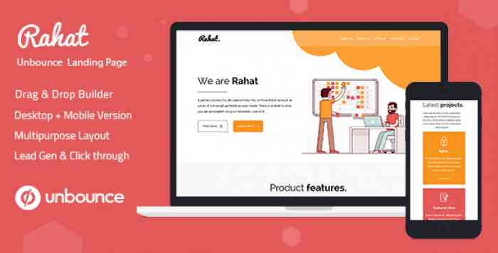 RAHAT – MINIMAL UNBOUNCE LANDING PAGE TEMPLATE