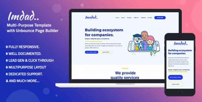 IMADAD – MULTI-PURPOSE TEMPLATE WITH UNBOUNCE PAGE BUILDER
