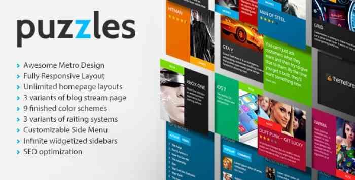 PUZZLES V1.0 – MAGAZINE/REVIEW HTML THEME