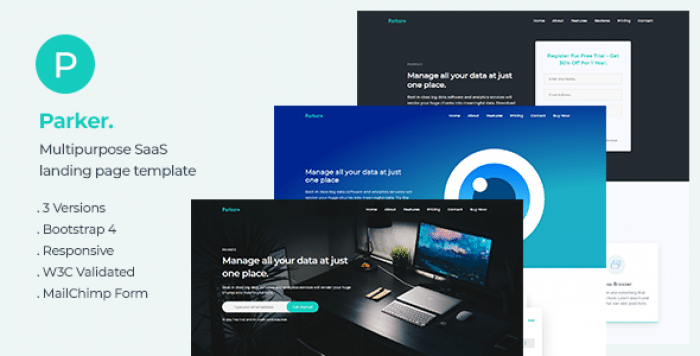 PARKER – SOFTWARE AND STARTUP LANDING PAGE TEMPLATE