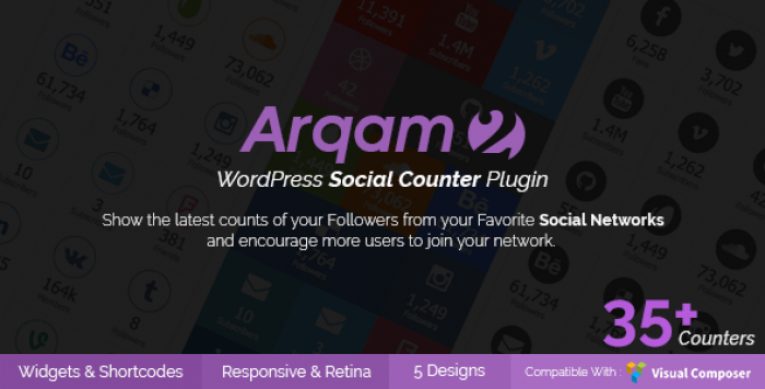 Arqam v2.5.1 – Retina Responsive WordPress Social Counter Plugin