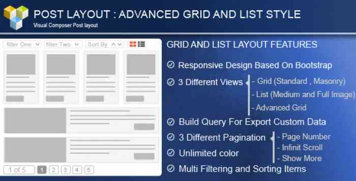 Advance Post Grid/List with custom filtering for Visual Composer v3.9