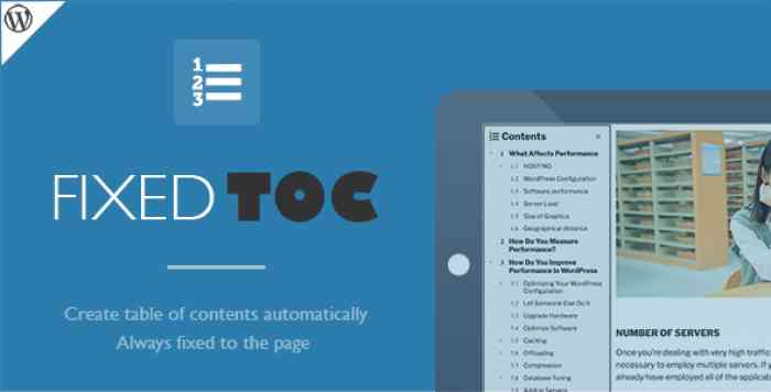 Fixed TOC v3.1.14 - table of contents for WordPress plugin