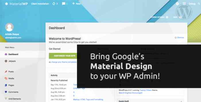 Material WP v0.0.49 - Material Design Dashboard Theme