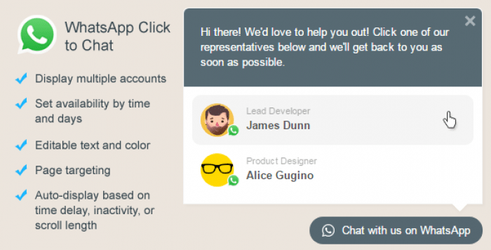 WhatsApp Click to Chat Plugin for WordPress v1.6