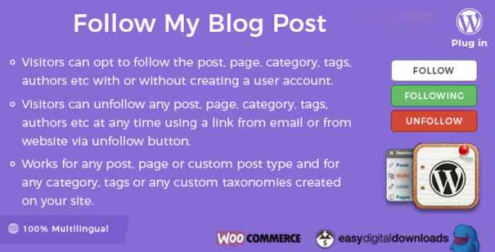 Follow My Blog Post WordPress Plugin v1.9.2