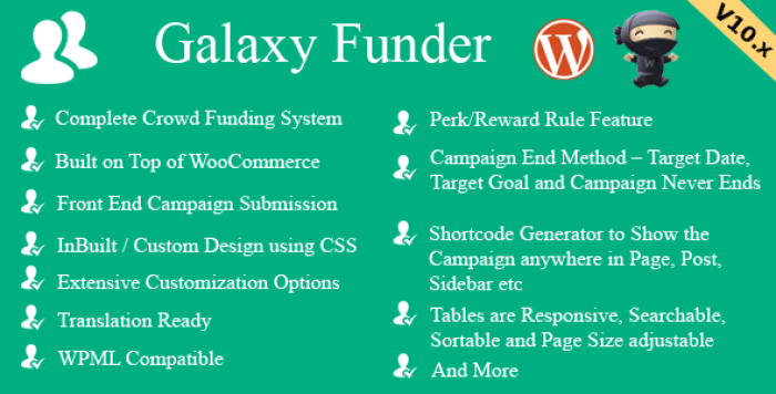 Galaxy Funder v10.5 - WooCommerce Crowdfunding System