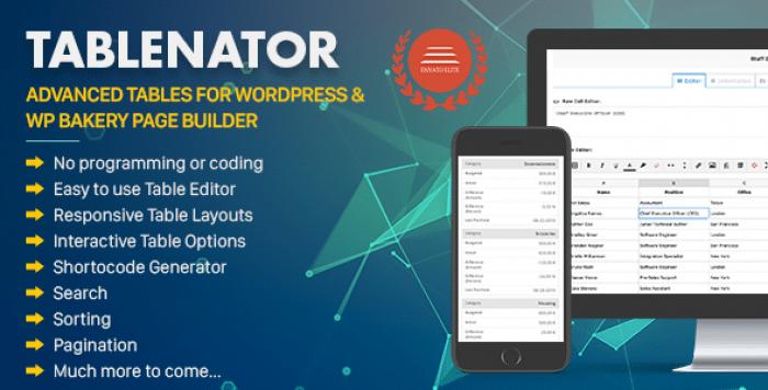 Tablenator v2.0.2 - Advanced Tables for WordPress