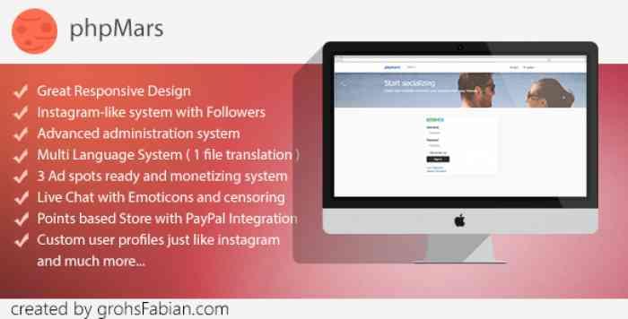 phpMars v1.1.0 - Photos Social Network ( instagram clone )