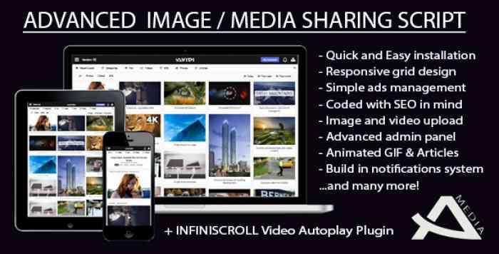 Avidi Media v1.1 - Advanced Image, Video, Audio and Gif Sharing Script