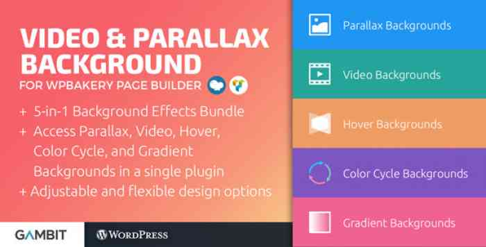 Video & Parallax Backgrounds For WPBakery Page Builder v4.8