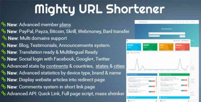 Mighty URL Shortener v3.2.1 – Short URL Script